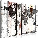 murando - Bilder Weltkarte 120x80 cm Vlies Leinwandbild 1 TLG Kunstdruck modern Wandbilder XXL Wanddekoration Design Wand Bild - Kontinente Worldmap Holzoptik k-A-0479-b-a