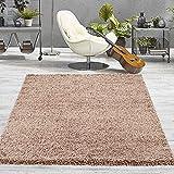 VIMODA Prime Shaggy Teppich Hochflor Langflor Teppiche Modern Einfarbig Nougat Hellbraun, Maße:70x250 cm