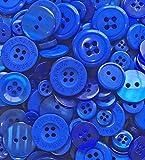 Königsblaue Knöpfe, 100Gramm, Beutel mit gemischten Knöpfen aus Acryl und Harz, für Karten und Verzierungen