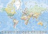 Landkarten Giant XXL Poster - Weltkarte mit Flaggen deutsche Version - Bildungsposter 1:30 Mio. - 140x100 cm - World Map with Flags German Version