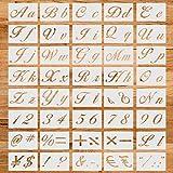 40 Stück Kunst-Buchstaben-Schablonen, wiederverwendbare Zahlensymbol-Groß- und Kleinbuchstaben-Formen-Set, 21 x 15 cm groß, zum Basteln, Sprühen, Zeichnen, zum Malen auf Holzwänden