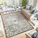 Taleta Greenish Teppich Blumen Orientalisch Weich Vintage Kurzflor für Wohnzimmer Grün Größe:120 x 170