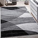 Paco Home Designer Teppich Modern Geschwungene Wellen Linien Muster Kurzflor Meliert Grau, Grösse:160x220