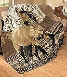 Fleece-Überwurf, Motiv: Western-Pferd, weich, Polyester, 160 x 185 cm, Übergröße