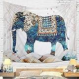 Dremisland Wandteppich Indisch Boho Psychedelic Elefant Mandala Tuch Wandtuch Tapisserie Wandbehang weiß Wandteppiche Badetuch Yoga Mat Decke Werfen (Elefant, L / 148x200cm)