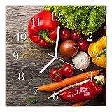 DekoGlas Glasuhr 'Gemüse Mehrfarbig' Uhr aus Echtglas, eckig große Motiv Wanduhr 30x30 cm, lautlos für Wohnzimmer & Küche