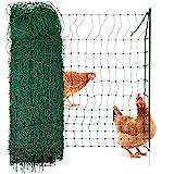 Agrarzone Geflügelnetz Geflügelzaun ohne Strom grün 25m x 112cm | Hühnerzaun mit Einzelspitze & Pfähle | geringe Maschenweite & extrem standfest | Hühnernetz Weidezaun für sichere Geflügelhaltung