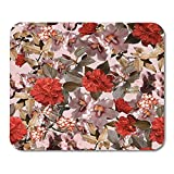 Mouse Pad Vintage Blumen Von Blauen Blumen Primel China Hibiskus Und Rhododendron Digital Painting Alte Farbe Sonderbüro 25 X 30Cm Bunt Mousepad Mousepad Mouse Matte Spiel Gedruck