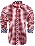 Burlady Herren Hemd Kariert Cargohemd Trachtenhemd Baumwolle Freizeit Regular Fit (M, A-Rot)