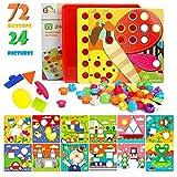 Gxi Mosaik Steckspiel für Kinder - Farbenfrohes Lernspielzeug mit 72 großen Steckperlen und 24 bunten Motiv Steckplatten - Mosaiksteine, Pädagogisch wertvolles Baustein Set Kleinkinder ab 3 Jahre