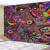 KHKJ Modeteppich Bunter Hippie-Wandteppich Psychedelischer Wandteppich Böhmischer Mandala-Wandteppich A4 200x180cm