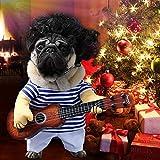 Idefair Lustige Gitarrenhund Kostüme Haustierbekleidung Hundekleidung Anzug für Welpen Kleine Mittlere Hunde Chihuahua Teddy Pug Weihnachten Party Halloween Kostüme Outfit (M)
