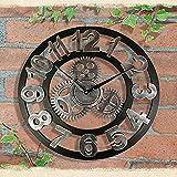 LNHJZ Große römische Ziffern Wanduhr, Silent Roman Retro Gear Holzuhr, Große Outdoor Garten Wanduhr für Bar Cafe Home 30cm Silber-2