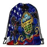 Lmtt Kordelzug Rucksack Taschen USA und Pennsylvania State Flag auf Grunge Wand Sport Lagerung Polyester Tasche für Fitnessstudio gemalt