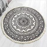 Lanqinglv Bohemian Teppich Rund 90cm Indische Mandala Baumwolleteppich Linen Handgemachte Weben mit Quaste Teppiche Schwarz und Weiß Dekorative Wohnzimmer Kinderzimmer Modern Teppich Rund