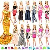 Miunana 20 Kleidung Schuhe für Puppen = 10 modische Partymoden Urlaubstag Kleidung Kleider Outfit + 10 Schuhe für 11,5 Zoll Mädchen Puppen Geschenk