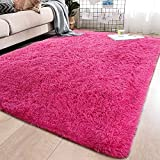 AMYZ Teppichverlegung 120x120cm,FauxFur Wohnzimmer Teppiche rutschfest Strapazierfähig für Schlafzimmer Wohnzimmer Dekor rosa R