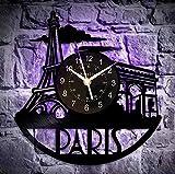 Holle 7 Farben LED Licht Paris Wanduhr Paris Raumdekor Paris LPP Aris Geschenke Paris Wandkunst Paris Sky