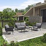 PURPLE LEAF Gartenmöbel Set in Grau, Sitzgruppe für Terrasse Rasen Garten, Loungemöbel Gartenlounge,