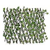 HEcSHENG Erweiterbarer Gitterzaun Einziehbarer Künstlicher Gartenpflanzenzaun Sichtschutz UV-Geschützter Weinschutzzaun Faux Ivy Fencing Panel Wandschutz,20x40