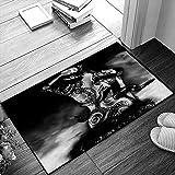 QDYLM Badezimmerteppich Badematte Mädchen Yakuza Tattoo Einer Schlange von einem Clan sinoby sitzt auf einem Stein bei Water FanRutschfester weicher Duschteppich Mikrofaser Dick Fußmatten 50x80 cm