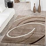 T&T Design Kurzflor Wohnzimmer Teppich Modern Ebro mit Spiralen Muster Beige Braun Mocca, Größe:120x170