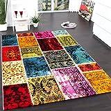 Teppich Modern Designer Teppich Patchwork Vintage Multicolour Grün Rot Gelb Blau, Grösse:160x230