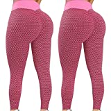 MEITING 2 Stücke Damen Leggins Hohe Taille Yogahose Anti Cellulite Hohe Taille Sportleggins Butt Lifter Anti-Cellulite Yogahosen Hohe Taille Kompressions Push Up Lauftraining Fitness Laufen Leggings