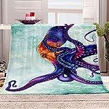 Kuscheldecke Flanell Fleecedecke 3D Oktopus Tier Drucken Wohndecke Super Soft Weiche Decke Warm Flauschige TV-Decke Sofadecke oder Bettüberwurf Tagesdecke 70x100cm