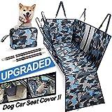 TOUZUTY Hunde Atuoschnodecke Wasserdicht Atmungsaktiv Dauerhaft Hundedecken Teilbar mit Seitenschutz Reißverschlüsse Kofferraumschutz Waschbar Universal Auto Rückbank Tarnung (Blau)