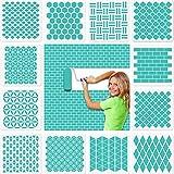 12 Stück Geometrische Wand schablonen groß(30x30cm), efco Kunststoff Wiederverwendbare Waben Stencil Schablonen für Wände Boden Fliesen Holz textilgestaltung Möbel Scrapbook Tagebuch DIY Home Dek