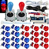 SJ@JX 2 Player Arcade Game Stick DIY Kit Buttons with Logo LED 8 Way Joystick USB Encoder Cable Controller for PC MAME Raspberry Pi Red B