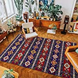 Retro Persian Style Ethnic Rugs and Carpets for Home Living Room Geometric Red Printed Large Carpets for Bedroom Decor 40x60cm Style4