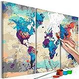 murando - Malen nach Zahlen Weltkarte 60x40 cm 3 TLG Malset mit Holzrahmen auf Leinwand für Erwachsene Kinder Gemälde Handgemalt Kit DIY Geschenk Dekoration n-A-0231-d-e