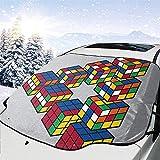 MOLLUDY Frontscheibenabdeckung Windschutzscheibe Auto Frontscheibe Abdeckung Puzzle Cube Penrose Triangle Magnetisch Frostabdeckung Sonnenschutz Schneeschutz