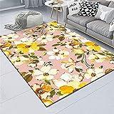 Schön Salon Kinderteppich Rosa Wohnzimmer Teppich Gelbe Blumen frisch weicher Teppichwasserwäsche Anti-milbe atmungsaktiv Teppiches 80x120cm 2ft 7.5''X3ft 11.2''