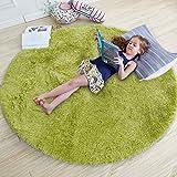 Plüschteppiche, runde Teppiche, superweicher künstlicher Flauschiger Samt, Moderne Flauschige Innenteppiche, langhaarige Pelzbettteppiche, Sofakissen (Grün, 100x00cm)