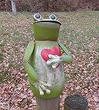 Zaunfigur Zaunhocker Frosch mit Herz Gartendekoration Eisen grün-rot