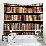 Lingxia Bibliothek Hintergrund Stoff Wandbehang Bücherregal umweltfreundliches Drucken weich dekorative hängende Stoff A7 130X150CM