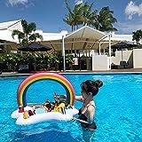 Aufblasbarer Becherhalter, aufblasbar, Regenbogen-Wasser, aufblasbarer Getränkehalter für Pool, aufblasbare Getränkehalter zum Schwimmen und Schwimmen