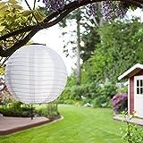 Eniko Solar Lampions 5er Set Led Laterne Wasserfest IP55 für Garten Deko Terrasse, Hof, Haus, Weihnachtsbaum aus Nylon/Seide Kaltweiß Weiß