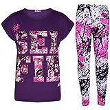 A2Z 4 Kids®, Set mit T-Shirt mit LOVE-Aufdruck und Leggings im Farbspritzer-Design für Mädchen im Alter von 7 bis 13 Jahren Gr. 9-10 Jahre, Selfie Splash Set lila