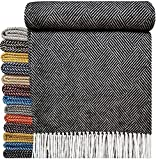 Baumwolldecke sehr weiches Plaid Wohndecke Kuscheldecke in versch. Farben Baumwolle Marbella-P (Anthrazit (P))
