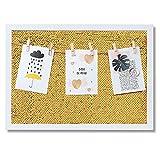 lampox Bilderrahmen Fotorahmen Collage mit Wendepailletten und Holzklammern Memoboard Pailletten glitzernd Wanddekoration (Gold, 40x30)