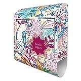 Banjado Design Briefkasten personalisiert mit Motiv Karibik | Stahl pulverbeschichtet mit Zeitungsrolle | Größe 39x47x14cm, 2 Schlüssel, A4 Einwurf, inkl. Montagematerial
