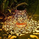 Retro Solarlaterne für Außen Hängend, JOYCREATOR Metall Solarlampen für Außen Garten mit IP65 Wasserdicht, Solar Laterne Aussen für Terrasse, Balkon, Garten Dek
