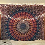 Indischer Hippie Bohemian Psychedelic Peacock Mandala Wandbehang Bettwäsche Tapisserie (Golden Blue, Twin (54x72Inches)(140x185cms))