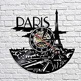 Wanduhr aus Vinyl, Motiv: Paris Stadt, LP, modernes Design, für Wohnzimmer und Innenb