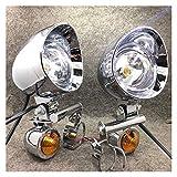 1 Set Universal Chrome Motorrad-Spot-Licht mit Blinkeranzeige Hilfsantriebslampe (Color : A)