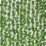 Künstliche gefälschte Efeublätter, 7,2 Fuß grüner Pflanzengirlanden (15 Stück in Einer Packung mit 81 stereotypen Süßkartoffelreben) simulierten grüne Reben